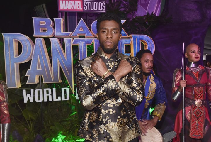"""Chadwick Boseman at the Los Angeles World Premiere of """"Black Panther."""""""