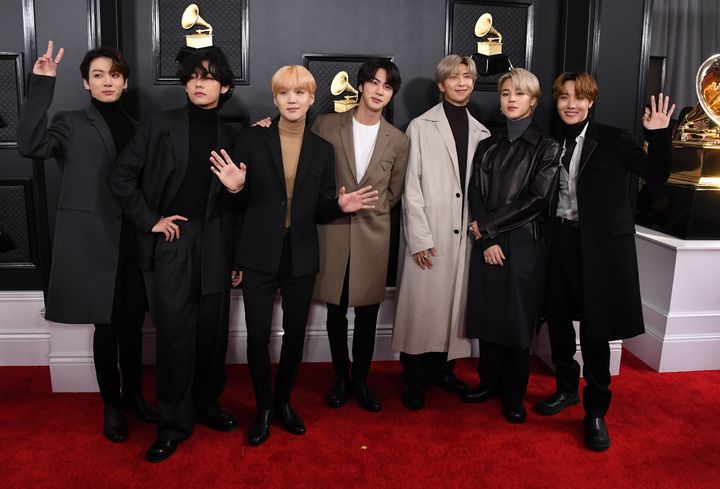 BTS arrives at the 62nd Annual GRAMMY Awards at Staples Center on January 26, 2020 in Los Angeles.