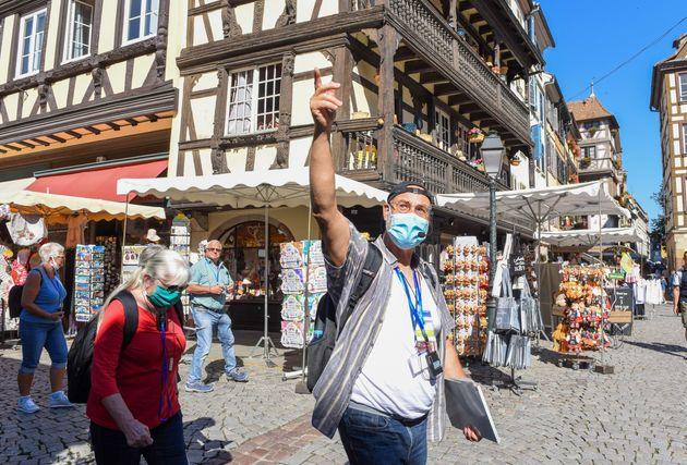 Depuis le 29 août, il est obligatoire de porter un masque dans les rues de Strasbourg afin de lutter...