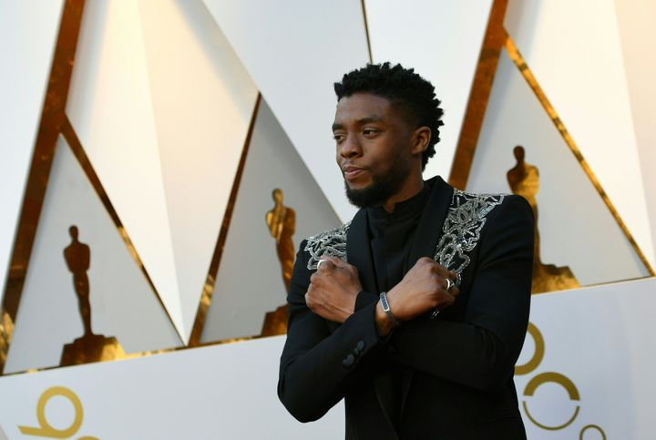 Chadwick Boseman arrives for the 90th Annual Academy Awards.