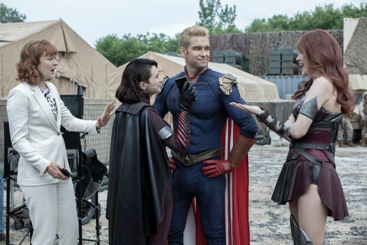 Colby Minifie (Ashley Barrett), Aya Cash (Stormfront), Antony Starr (Homelander) and Dominique McElligott (Queen Maeve).