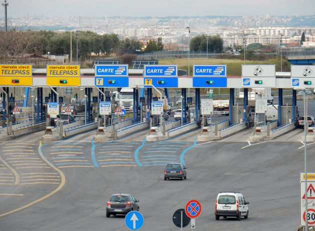 Rome, Lazio, Italy - January 18, 2017: exit from the highway at the south Rome seen from the service