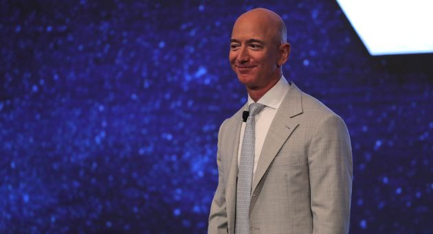 Amazon founder Jeff Bezos at the JFK Space Summit at the John F. Kennedy Presidential Library in Boston...