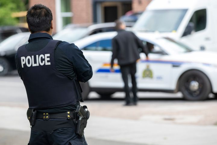 The RCMP at Rideau Cottage in Ottawa on June 25, 2020.