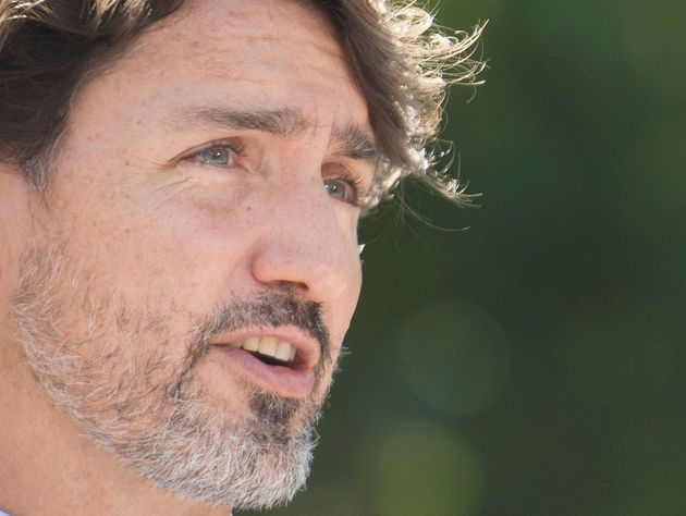 Prime Minister Justin Trudeau speaks to reporters during a news conference following a visit to the National...