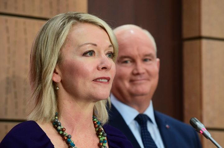Conservative Leader Erin O'Toole holds a press conference to introduce his Deputy Leader Candice Bergen on Parliament Hill in Ottawa on Sept. 2, 2020.