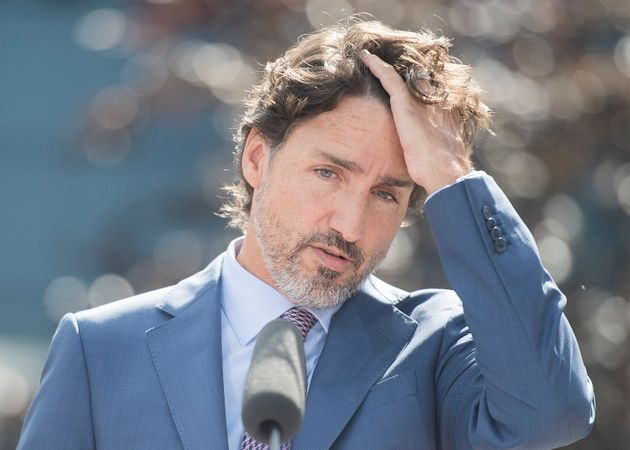 Prime Minister Justin Trudeau speaks to reporters during a visit to the National Research Council of...