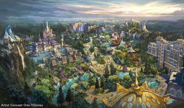 東京ディズニーシーに2023年度開業予定の新エリア「ファンタジースプリングス」の全景イメージ