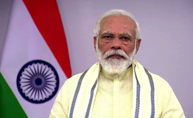 In this June 30, 2020, frame grab from video, Prime Minister Narendra Modi speaks during a televised...