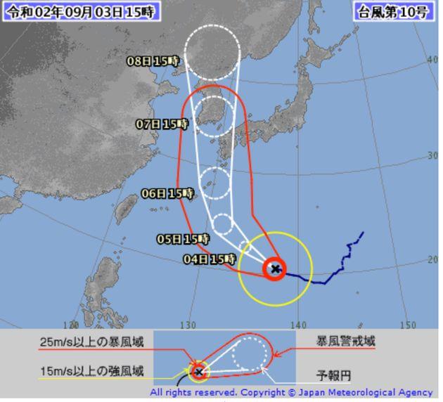台風10号の進路予測図