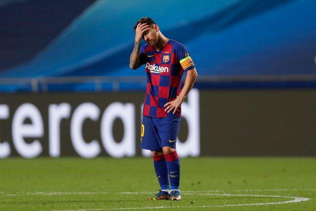 Messi, en el partido frente al Bayern de Munich el 14 de agosto de 2020 (Manu Fernandez/Pool via Getty