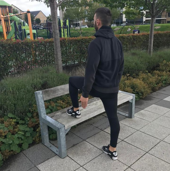 Stepping up onto a park bench is a good way of using outdoor spaces to exercise rather than the gym