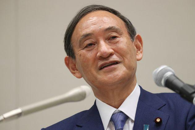 自民党総裁選への出馬を表明し、記者会見する菅義偉官房長官=9月2日、衆院議員会館