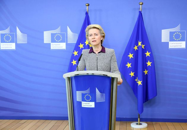 President of the European Commission Ursula von der Leyen addresses a press conference following the...