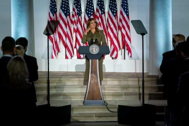 First lady Melania Trump arriving to speak to the 2020 Republican National Convention on Aug. 25. Her...