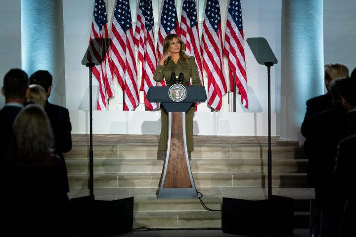 First lady Melania Trump arriving to speak to the 2020 Republican National Convention on Aug. 25. Her former adviser has rele
