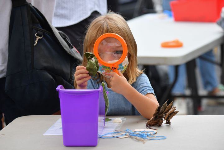 A student participates in an outdoor learning demonstration for New York City schools on September 2, 2020.