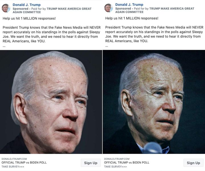 An original photo of Joe Biden in one Trump campaign Facebook ad, left, and a manipulated image, right.