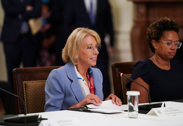 U.S. Education Secretary Betsy Devos attends an event on reopening schools amid the coronavirus pandemic at the White House,