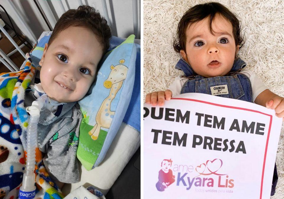 Arthur Ferreia Belo, de um ano e dez meses, e Kyara Lis, de um ano e um mês; ambos portadores da...