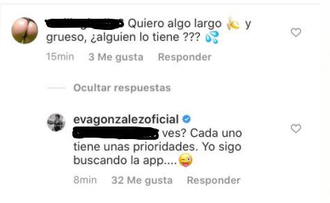 Captura del mensaje y de la respuesta que ha dejado Eva