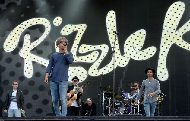 Jordan Stephens and Harley Alexander-Sule of Rizzle Kicks performing onstage in 2014.