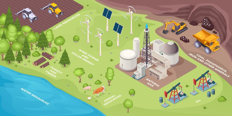 Renewable energy resources and nonrenewable, natural green power sources, vector isometric. Renewable...
