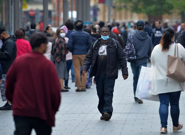 BAME members of the community in Leicester city centre wearing
