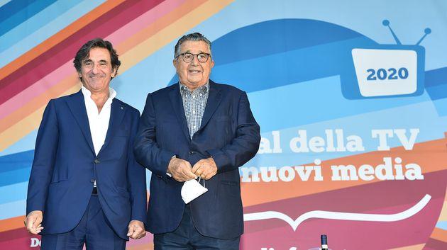 Carlo De Benedetti e Urbano Cairo al festival della TV e dei nuovi media a Dogliani, Torino, 4 settembre...