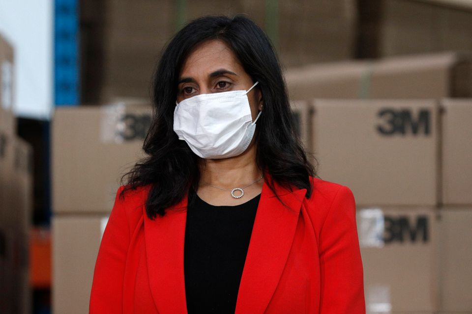 Public Services and Procurement Minister Anita Anand wears a mask during an announcement at the 3M plant...