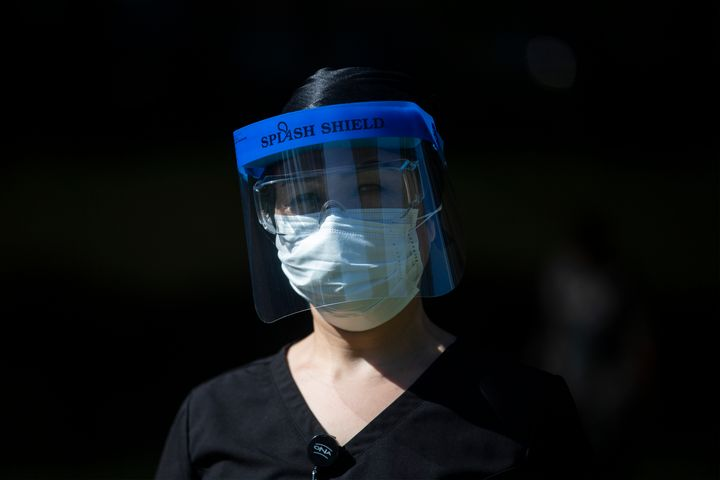 Registered Nurse, Shekiba Khedri, a healthcare worker at Birchmount Hospital, in Scarborough, Ont. is photographed wearing personal protective equipment on June 8, 2020.