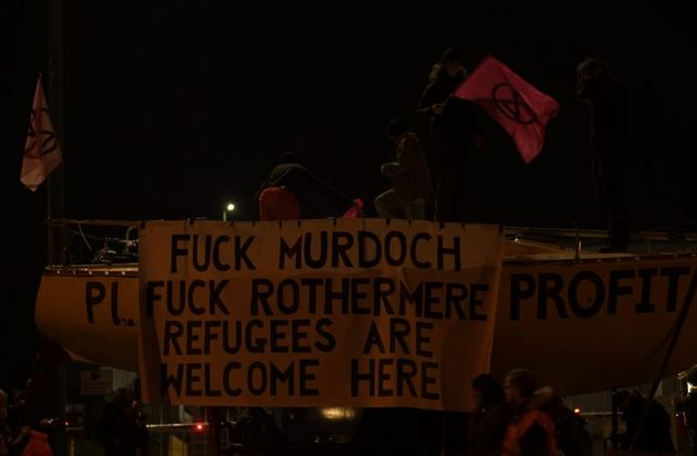 A banner held up at the Knowsley, Liverpool blockade.