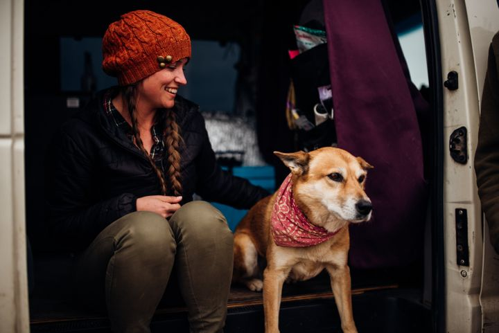 Priestley and her dog, Mona Lisa, enjoy living in their 60-square-foot home.