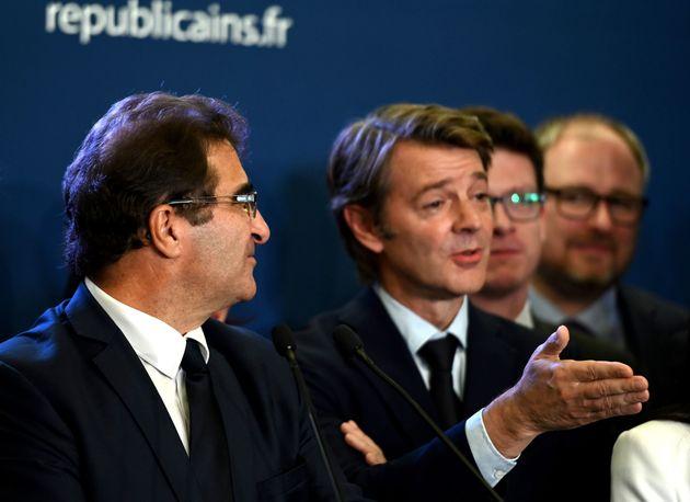 François Baroin et Christian Jacob lors d'une conférence de presse à Paris en octobre...