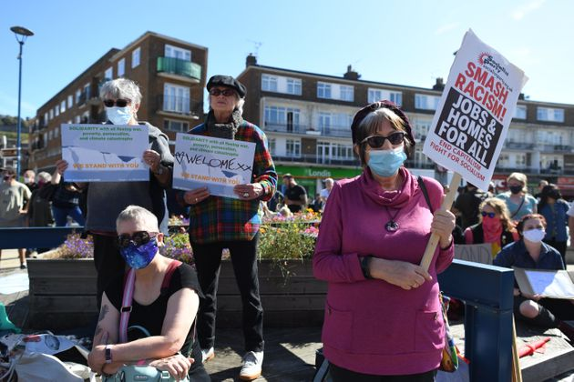 Pro-migrant supporters during a 'solidarity stand' in the Market Square, Dover on Saturday.