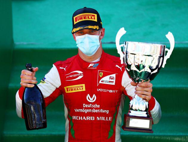 MONZA, ITALY - SEPTEMBER 05: Race winner Mick Schumacher of Germany and Prema Racing (20) celebrates...