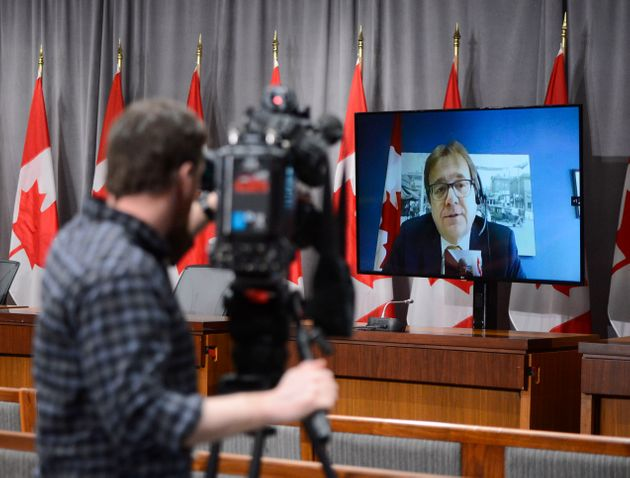 Minister of Environment and Climate Change Jonathan Wilkinson speaks via video link during a press conference...