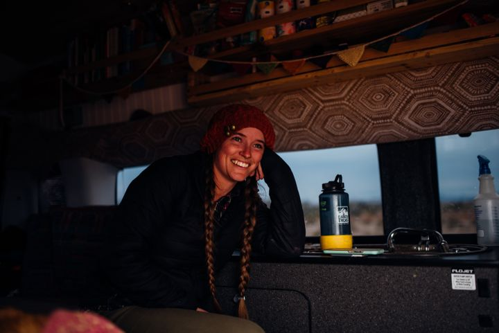 Although small, Priestley's home-on-wheels has everything she needs to be comfortable and productive.