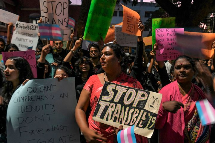 Supporters and transgender activists take part in a demonstration against the Transgender Persons (Protection of Rights) Bill 2019 tabled in the Parliament, in Bangalore on November 27, 2019.