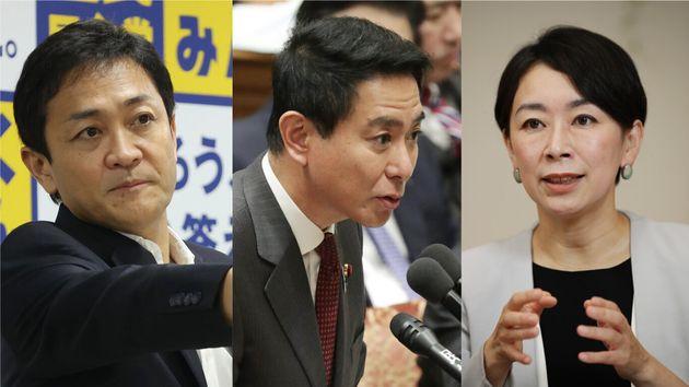 合流新党に参加しない国民民主党のメンバー。左から玉木雄一郎氏、前原誠司氏、山尾志桜里氏