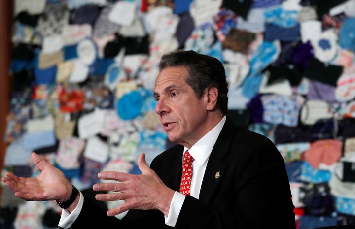 New York Governor Andrew Cuomo speaks in front of a mural on April 29, 2020. New York is among several states facing revenue