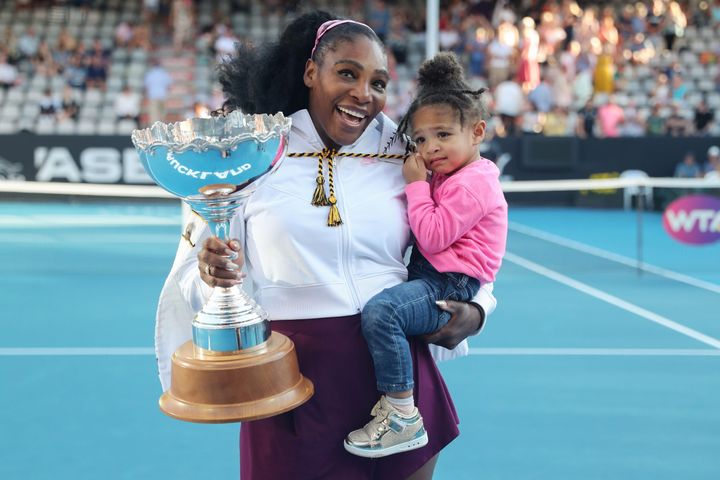 Serena Williams with her daughter Alexis Olympia at the Auckland Classic tennis tournament on Jan. 12, 2020.