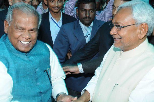 Former Bihar CM Jitan Ram Manjhi with Bihar CM Nitish Kumar on February 22, 2015 in