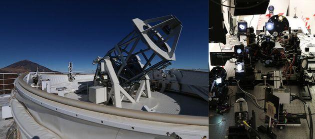 (左)グレゴール望遠鏡(右)新しくデザインされたグレゴール望遠鏡の光学研究所