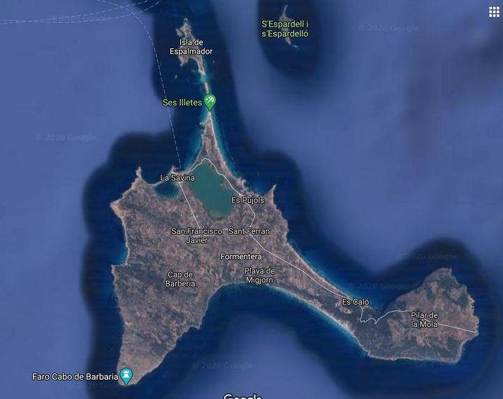 Ses Illetes, en el mapa de Formentera.