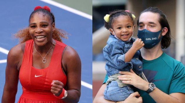 Serena Williams supportée par sa fille et son mari Alexis Ohanian lors d'un match de l'U.S