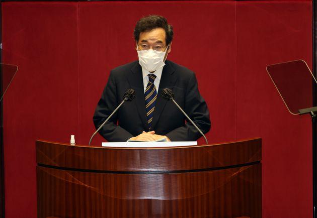 이낙연 더불어민주당 대표가 7일 오전 서울 여의도 국회에서 열린 제382회국회(정기회) 제2차 본회의서 교섭단체 대표연설을 하고