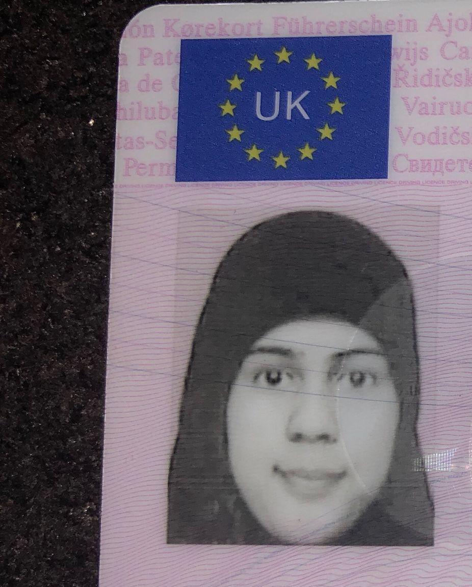 Ramsha Hanif's driving licence