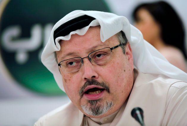 FILE - In this Dec. 15, 2014 file photo, Saudi journalist Jamal Khashoggi speaks during a press conference...