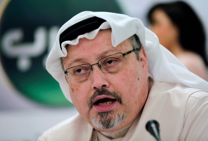 FILE - In this Dec. 15, 2014 file photo, Saudi journalist Jamal Khashoggi speaks during a press conference in Manama, Bahrain